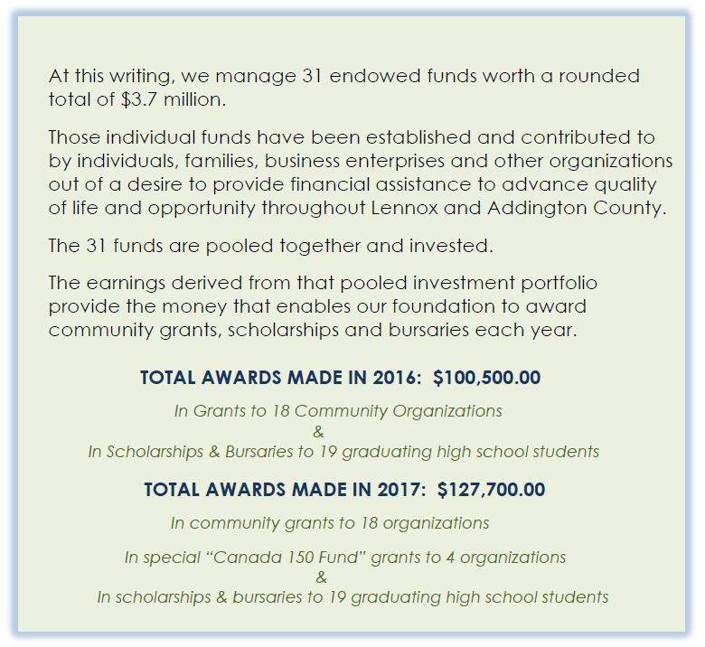 Community Foundation for Lennox & Addington funding for 2016 and 2017.